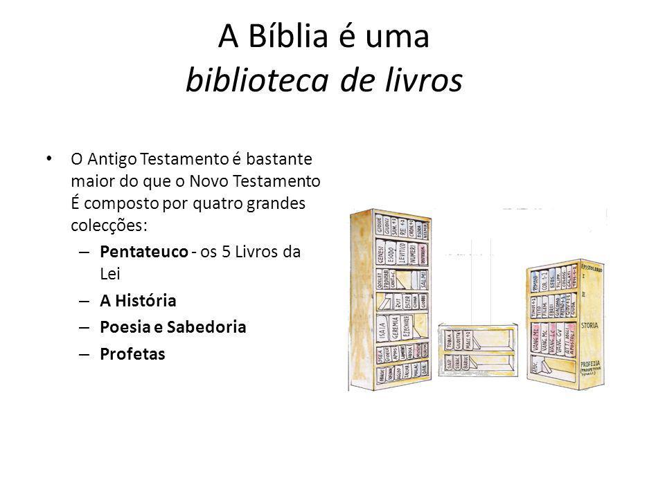 A Bíblia é uma biblioteca de livros O Antigo Testamento é bastante maior do que o Novo Testamento É composto por quatro grandes colecções: – Pentateuc