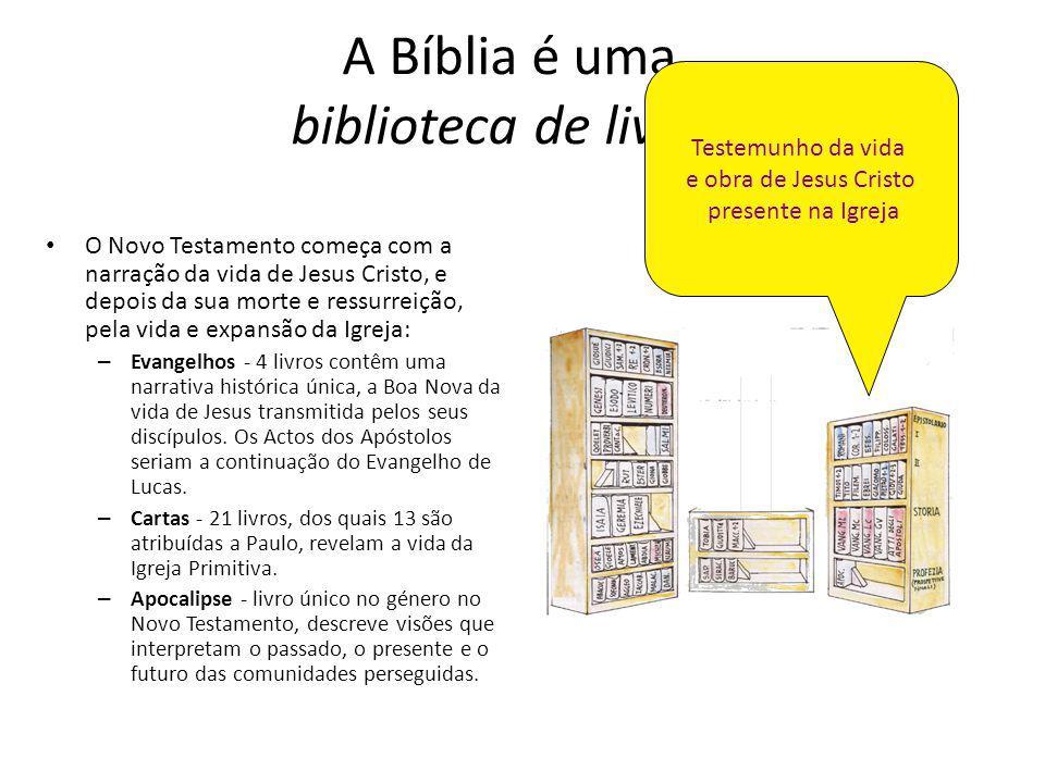 A Bíblia é uma biblioteca de livros O Novo Testamento começa com a narração da vida de Jesus Cristo, e depois da sua morte e ressurreição, pela vida e