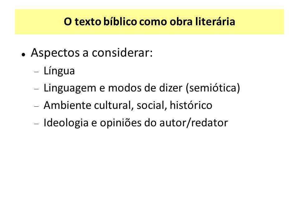 O texto bíblico como obra literária Aspectos a considerar:  Língua  Linguagem e modos de dizer (semiótica)  Ambiente cultural, social, histórico 