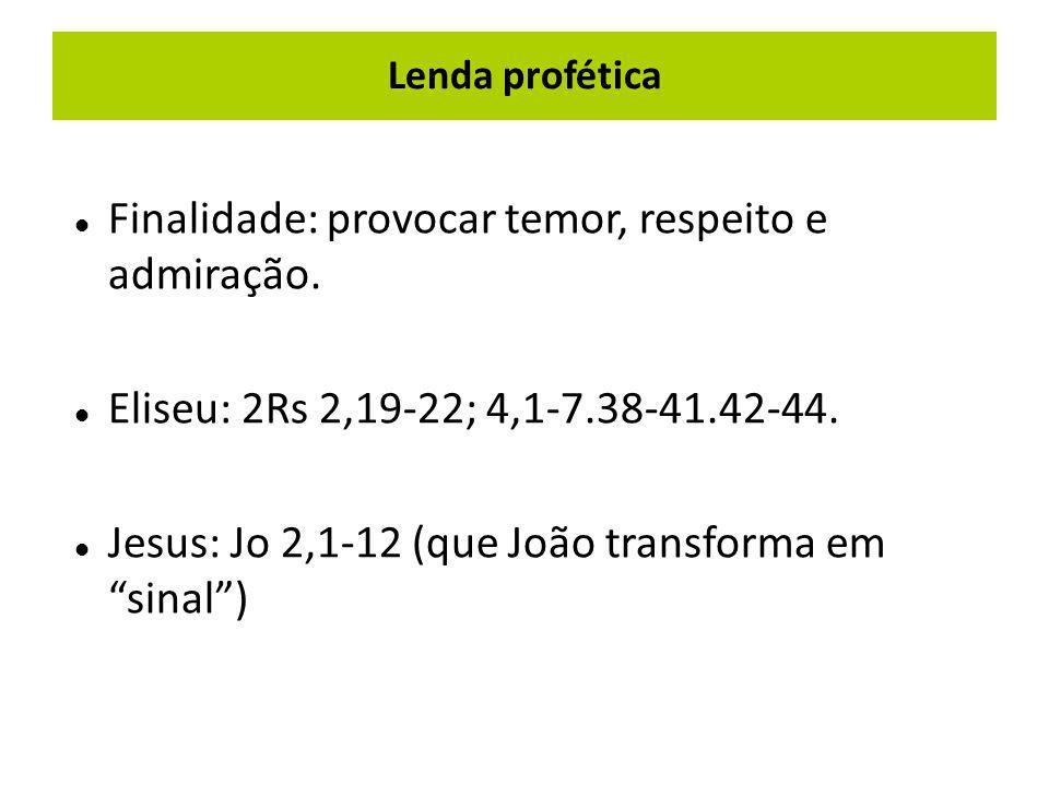"""Lenda profética Finalidade: provocar temor, respeito e admiração. Eliseu: 2Rs 2,19-22; 4,1-7.38-41.42-44. Jesus: Jo 2,1-12 (que João transforma em """"si"""