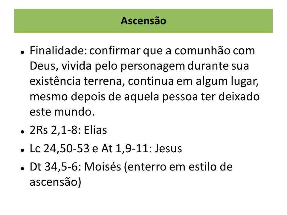 Ascensão Finalidade: confirmar que a comunhão com Deus, vivida pelo personagem durante sua existência terrena, continua em algum lugar, mesmo depois d