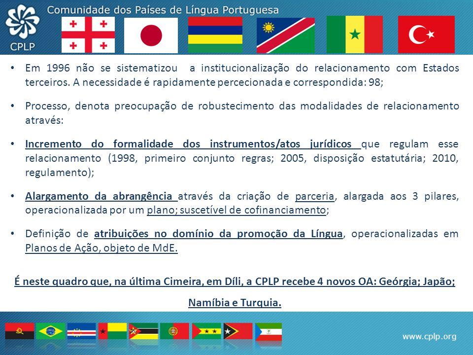 www.cplp.org Em 1996 não se sistematizou a institucionalização do relacionamento com Estados terceiros. A necessidade é rapidamente percecionada e cor