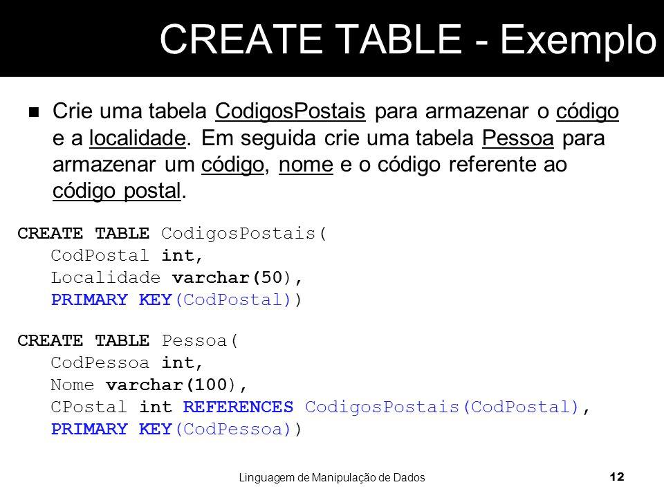 Crie uma tabela CodigosPostais para armazenar o código e a localidade.