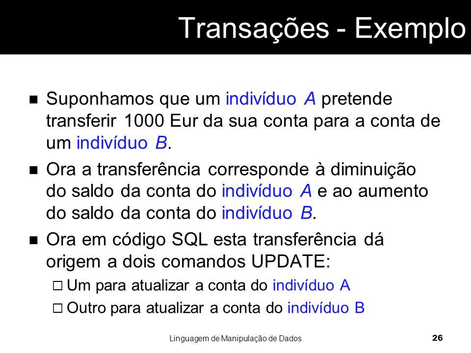 Suponhamos que um indivíduo A pretende transferir 1000 Eur da sua conta para a conta de um indivíduo B.