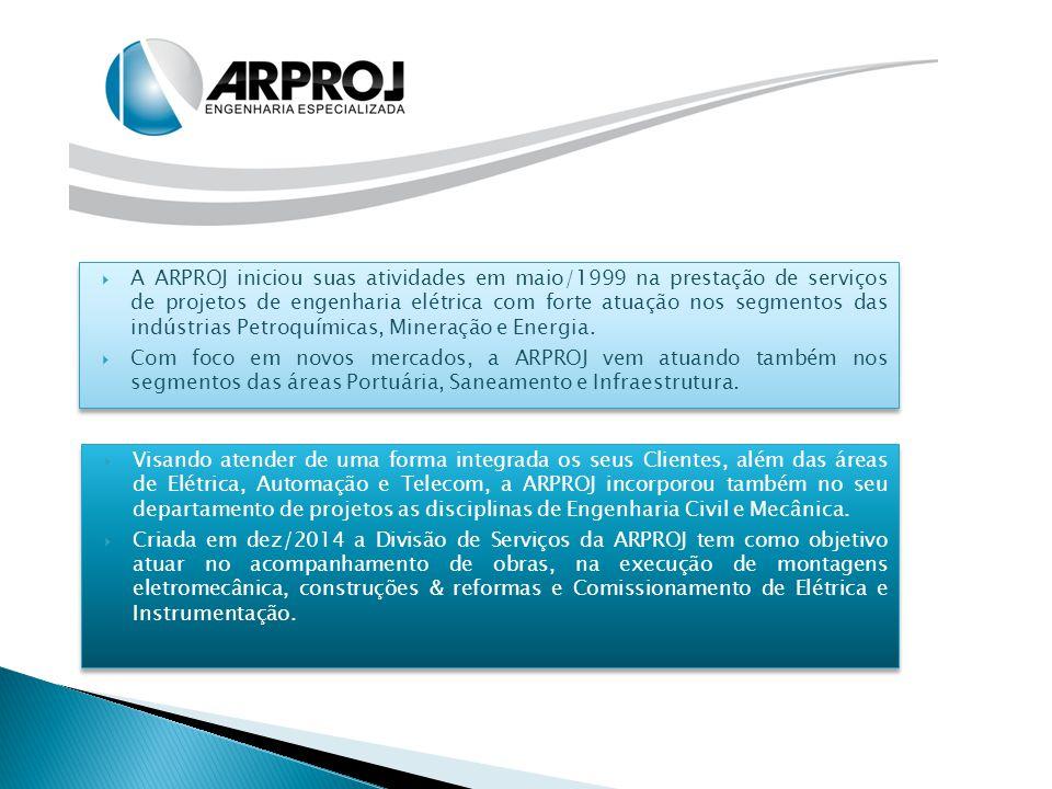 Visando atender de uma forma integrada os seus Clientes, além das áreas de Elétrica, Automação e Telecom, a ARPROJ incorporou também no seu departam