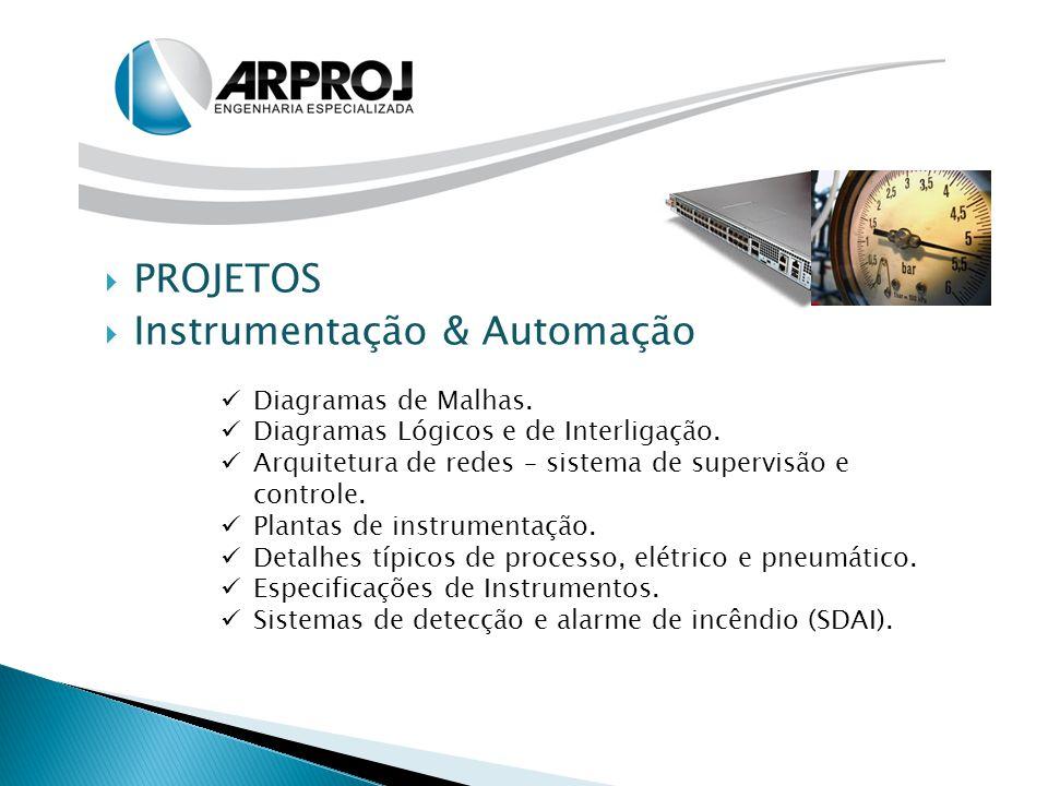  PROJETOS  Instrumentação & Automação Diagramas de Malhas. Diagramas Lógicos e de Interligação. Arquitetura de redes – sistema de supervisão e contr