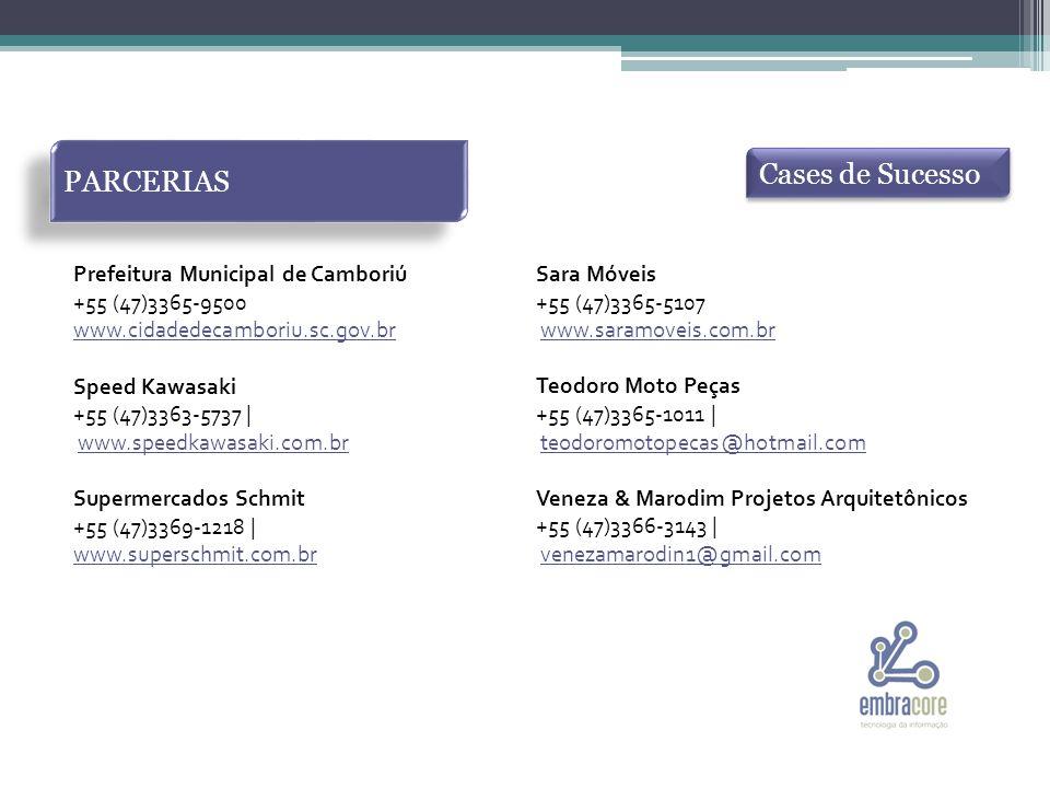 PARCERIAS Cases de Sucesso Prefeitura Municipal de Camboriú +55 (47)3365-9500 www.cidadedecamboriu.sc.gov.br Speed Kawasaki +55 (47)3363-5737 | www.speedkawasaki.com.br Supermercados Schmit +55 (47)3369-1218 | www.superschmit.com.br Sara Móveis +55 (47)3365-5107 www.saramoveis.com.br Teodoro Moto Peças +55 (47)3365-1011 | teodoromotopecas@hotmail.com Veneza & Marodim Projetos Arquitetônicos +55 (47)3366-3143 | venezamarodin1@gmail.com