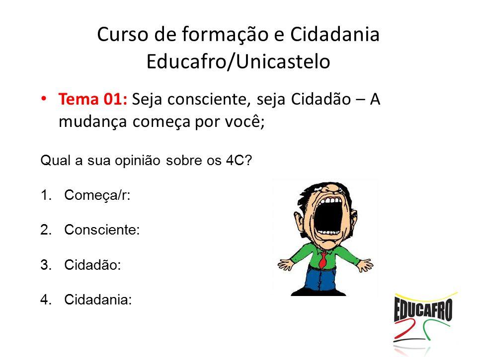 Tema 01: Seja consciente, seja Cidadão – A mudança começa por você; Qual a sua opinião sobre os 4C? 1.Começa/r: 2.Consciente: 3.Cidadão: 4.Cidadania: