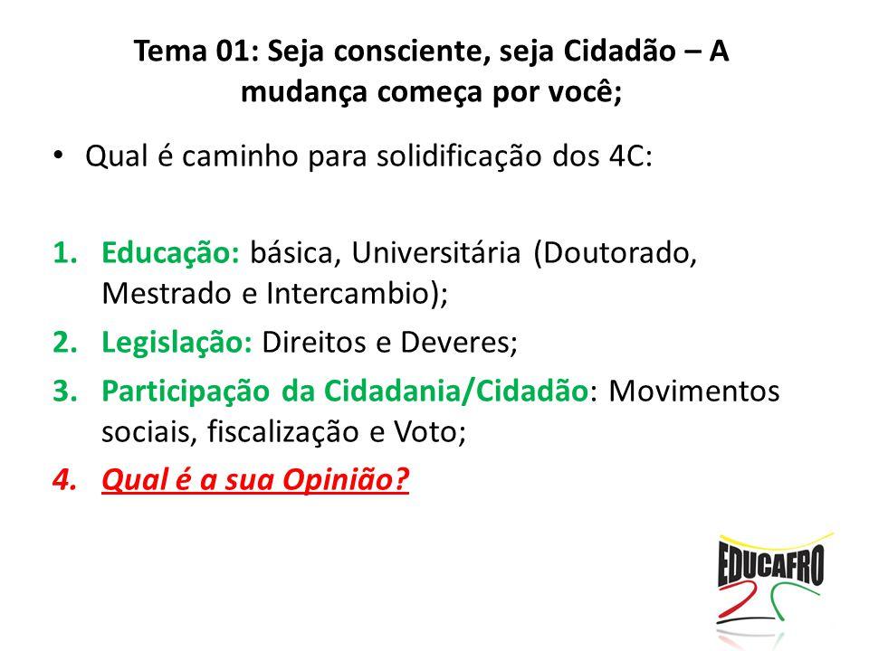 Qual é caminho para solidificação dos 4C: 1.Educação: básica, Universitária (Doutorado, Mestrado e Intercambio); 2.Legislação: Direitos e Deveres; 3.P