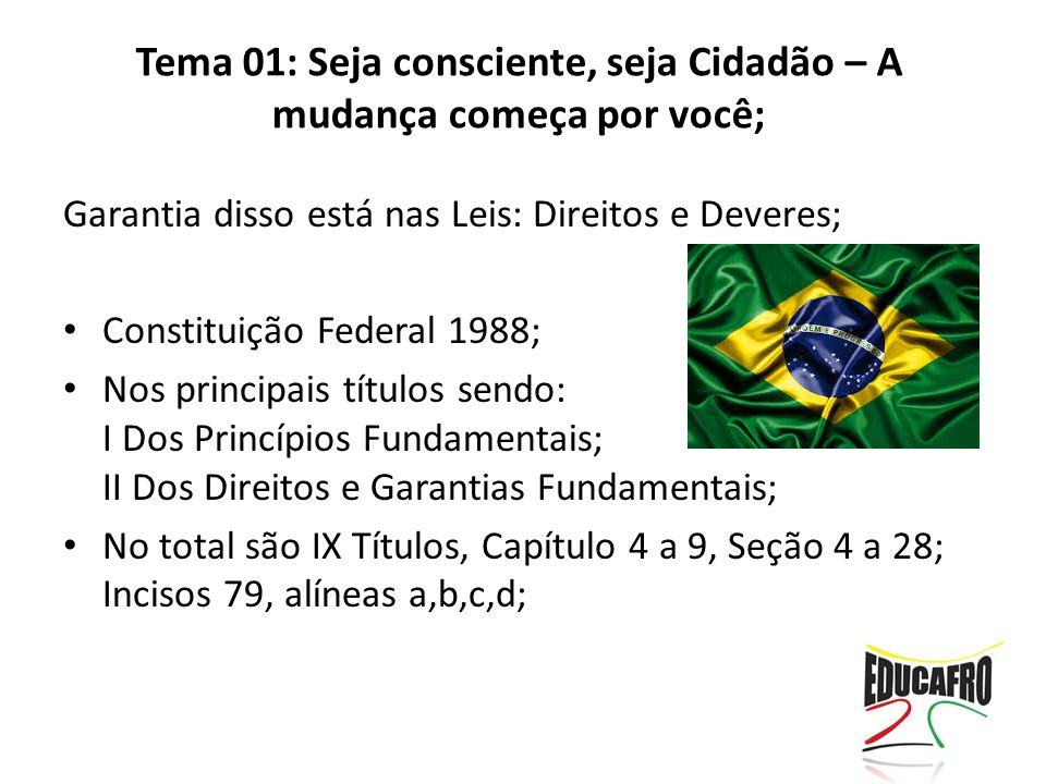 Garantia disso está nas Leis: Direitos e Deveres; Constituição Federal 1988; Nos principais títulos sendo: I Dos Princípios Fundamentais; II Dos Direi