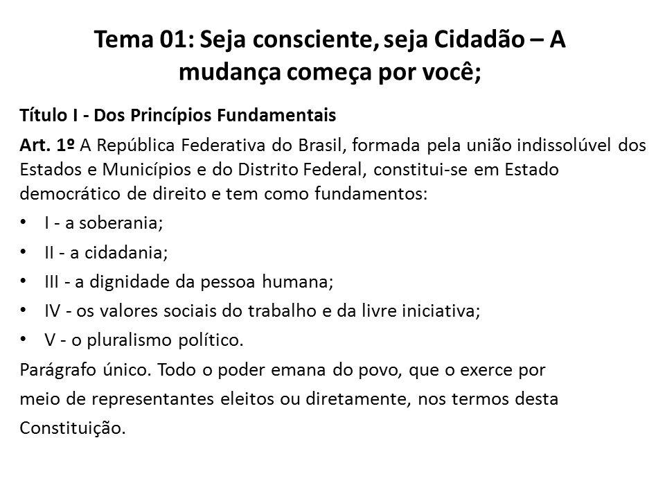 Título I - Dos Princípios Fundamentais Art. 1º A República Federativa do Brasil, formada pela união indissolúvel dos Estados e Municípios e do Distrit
