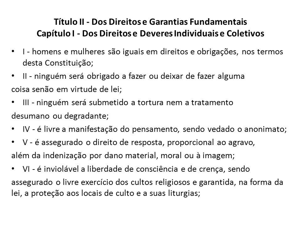 Título II - Dos Direitos e Garantias Fundamentais Capítulo I - Dos Direitos e Deveres Individuais e Coletivos I - homens e mulheres são iguais em dire