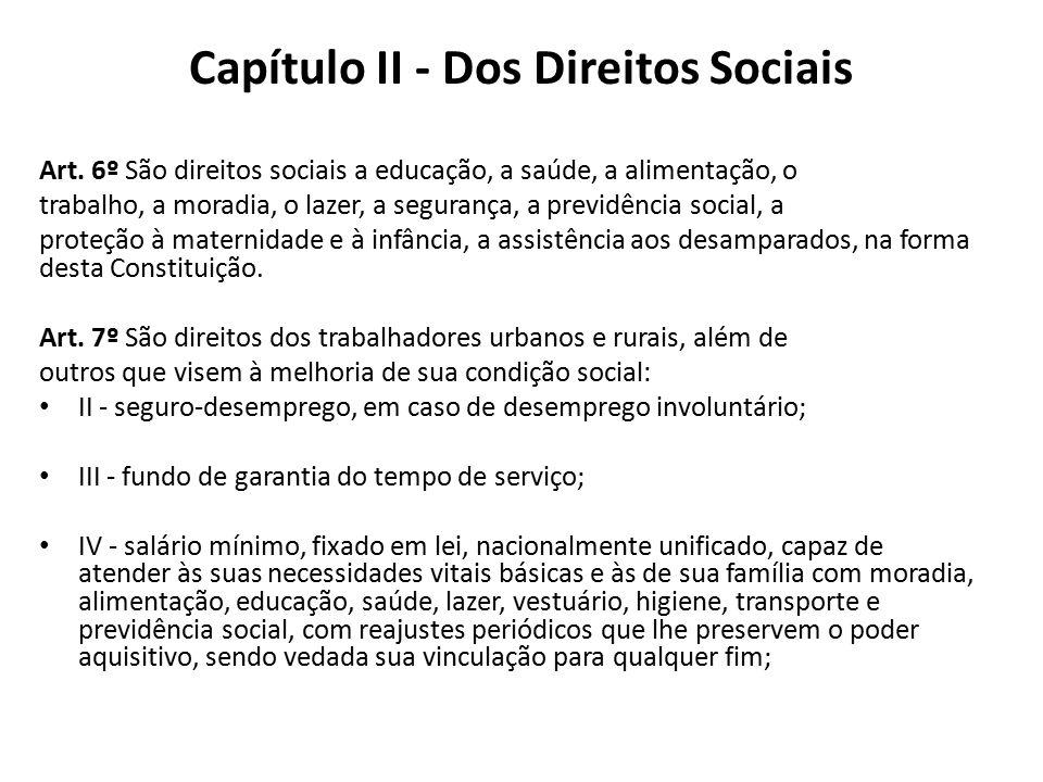 Capítulo II - Dos Direitos Sociais Art. 6º São direitos sociais a educação, a saúde, a alimentação, o trabalho, a moradia, o lazer, a segurança, a pre