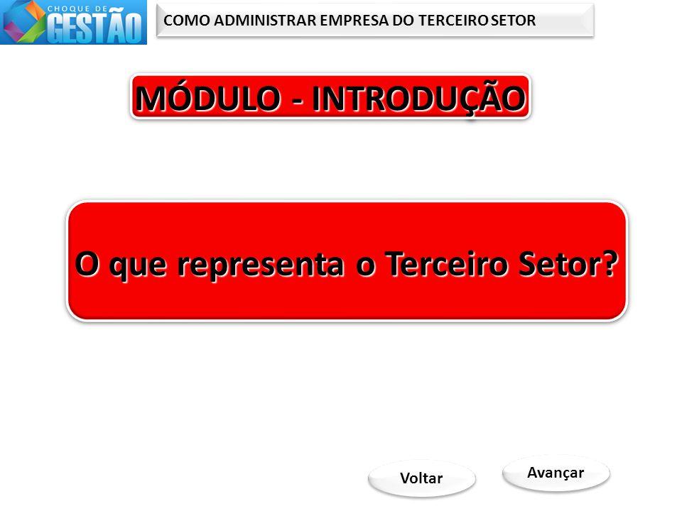 COMO ADMINISTRAR EMPRESA DO TERCEIRO SETOR MÓDULO - INTRODUÇÃO MÓDULO - INTRODUÇÃO MÓDULO - INTRODUÇÃO MÓDULO - INTRODUÇÃO Avançar O que representa o