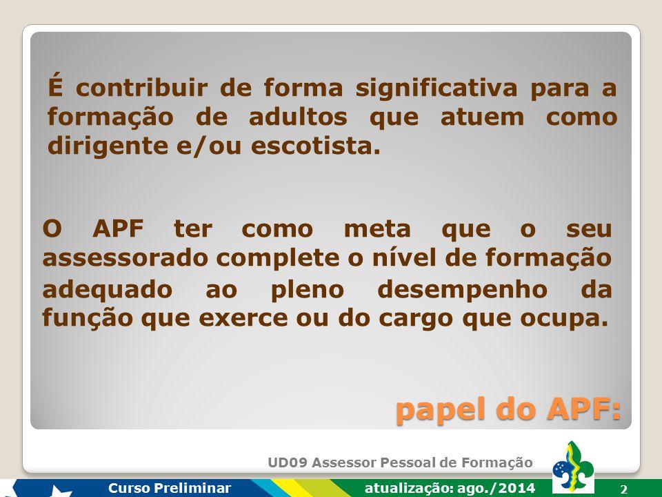 Curso Preliminar atualização: ago./2014 2 papel do APF: É contribuir de forma significativa para a formação de adultos que atuem como dirigente e/ou escotista.