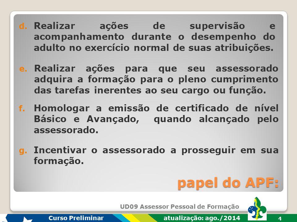 UD09 Assessor Pessoal de Formação Curso Preliminar atualização: ago./2014 3 papel do APF: b. Supervisionar a participação do assessorado no processo d