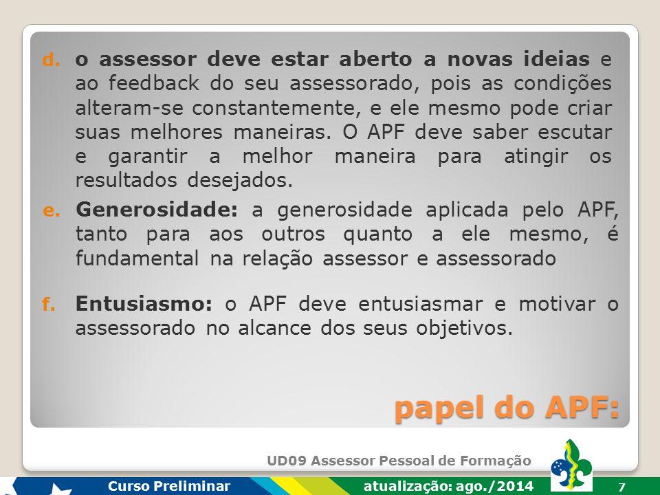 UD09 Assessor Pessoal de Formação Curso Preliminar atualização: ago./2014 7 papel do APF: f.