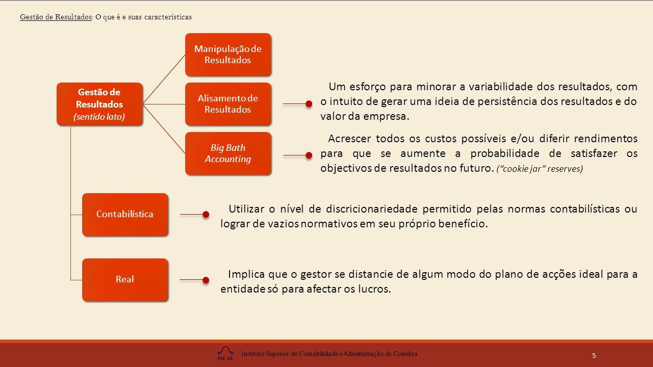 Instituto Superior de Contabilidade e Administração de Coimbra 5 Contabilística Real Um esforço para minorar a variabilidade dos resultados, com o intuito de gerar uma ideia de persistência dos resultados e do valor da empresa.