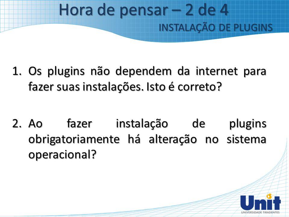 1.Os plugins não dependem da internet para fazer suas instalações. Isto é correto? 2.Ao fazer instalação de plugins obrigatoriamente há alteração no s