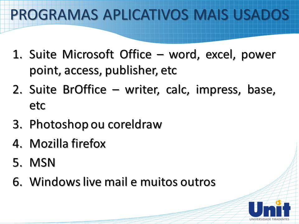 1.Suite Microsoft Office – word, excel, power point, access, publisher, etc 2.Suite BrOffice – writer, calc, impress, base, etc 3.Photoshop ou coreldr