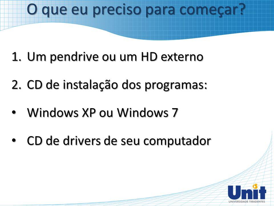 1.Um pendrive ou um HD externo 2.CD de instalação dos programas: Windows XP ou Windows 7 Windows XP ou Windows 7 CD de drivers de seu computador CD de