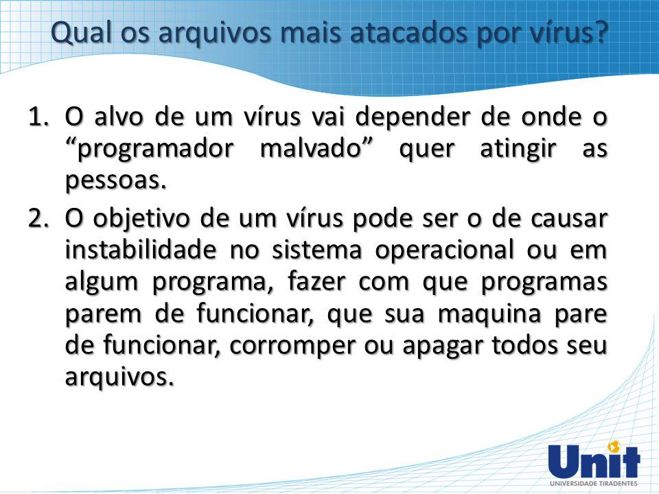 """1.O alvo de um vírus vai depender de onde o """"programador malvado"""" quer atingir as pessoas. 2.O objetivo de um vírus pode ser o de causar instabilidade"""