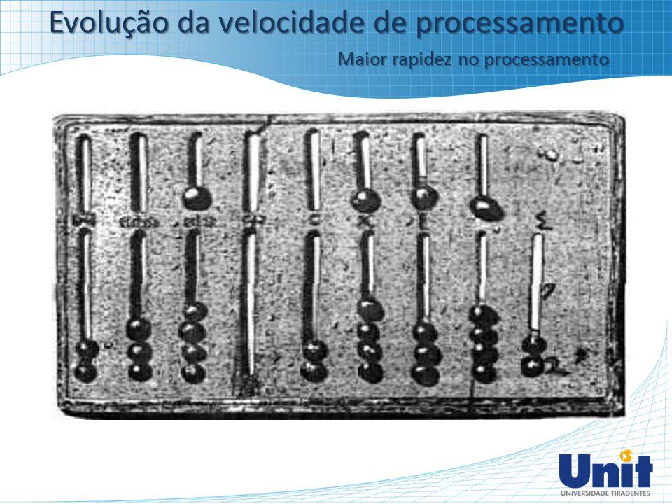 Evolução da velocidade de processamento Maior rapidez no processamento