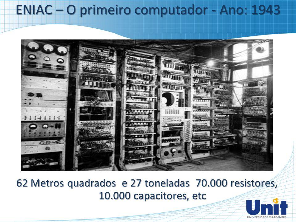 ENIAC – O primeiro computador - Ano: 1943 62 Metros quadrados e 27 toneladas 70.000 resistores, 10.000 capacitores, etc