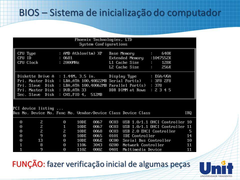 BIOS – Sistema de inicialização do computador FUNÇÃO: fazer verificação inicial de algumas peças