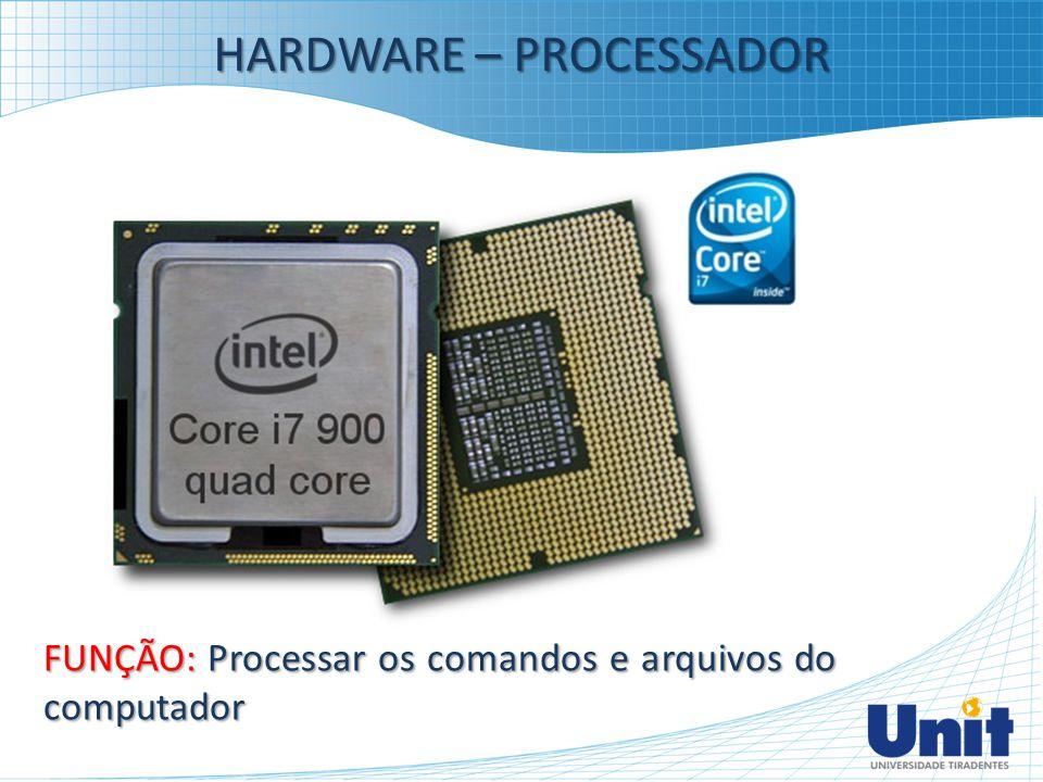 HARDWARE – PROCESSADOR FUNÇÃO: Processar os comandos e arquivos do computador