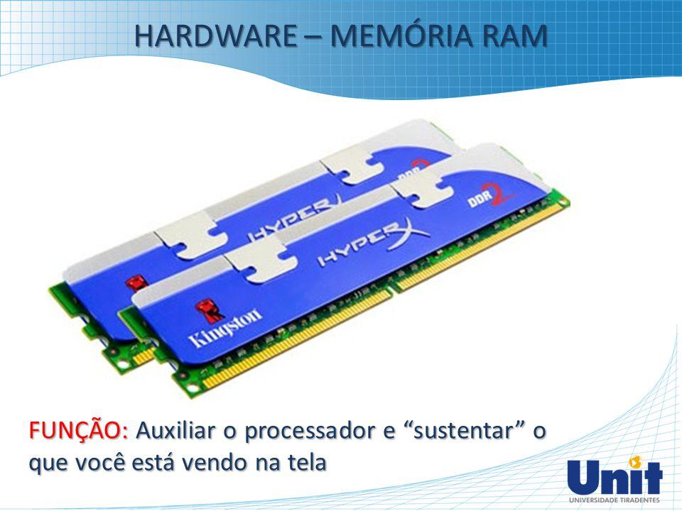 """HARDWARE – MEMÓRIA RAM FUNÇÃO: Auxiliar o processador e """"sustentar"""" o que você está vendo na tela"""