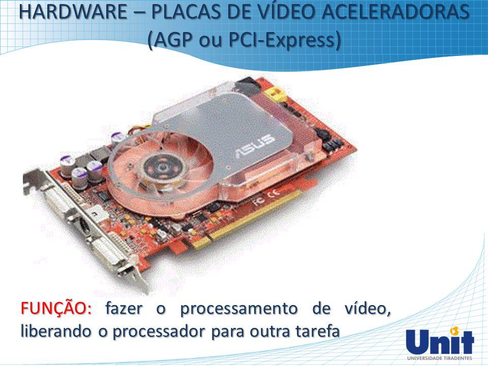 HARDWARE – PLACAS DE VÍDEO ACELERADORAS (AGP ou PCI-Express) FUNÇÃO: fazer o processamento de vídeo, liberando o processador para outra tarefa