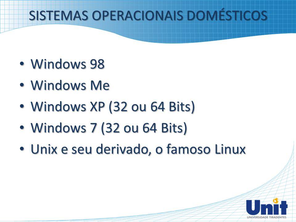 SISTEMAS OPERACIONAIS DOMÉSTICOS Windows 98 Windows 98 Windows Me Windows Me Windows XP (32 ou 64 Bits) Windows XP (32 ou 64 Bits) Windows 7 (32 ou 64