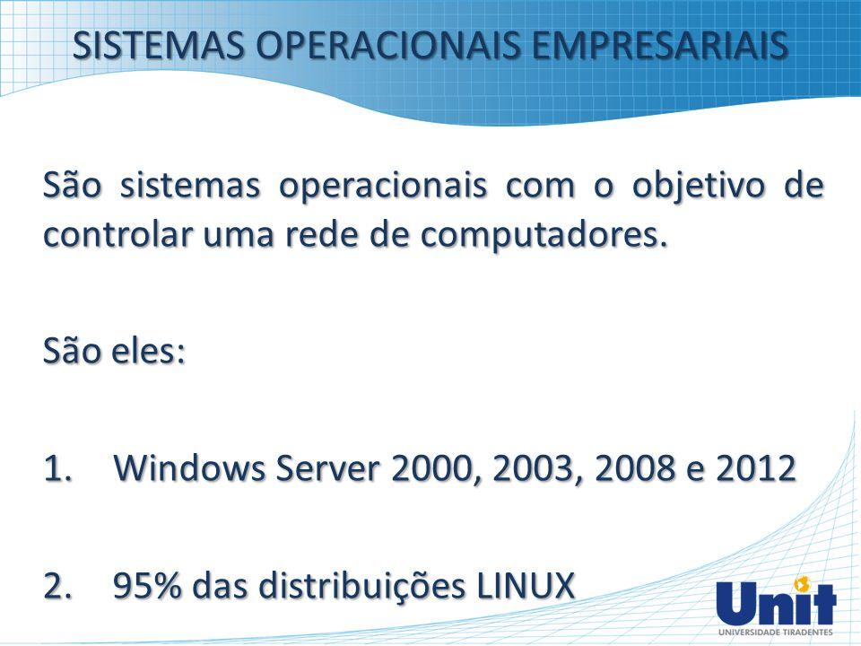 SISTEMAS OPERACIONAIS EMPRESARIAIS São sistemas operacionais com o objetivo de controlar uma rede de computadores. São eles: 1.Windows Server 2000, 20