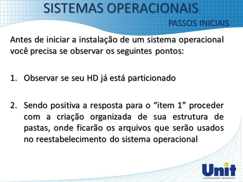 Antes de iniciar a instalação de um sistema operacional você precisa se observar os seguintes pontos: 1.Observar se seu HD já está particionado 2.Send
