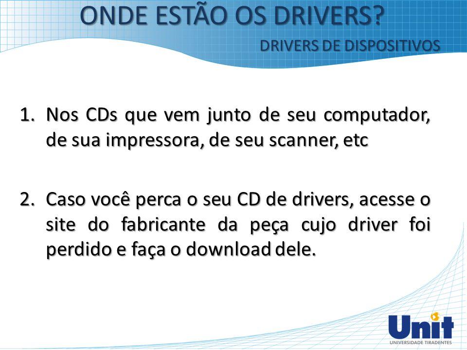 1.Nos CDs que vem junto de seu computador, de sua impressora, de seu scanner, etc 2.Caso você perca o seu CD de drivers, acesse o site do fabricante d