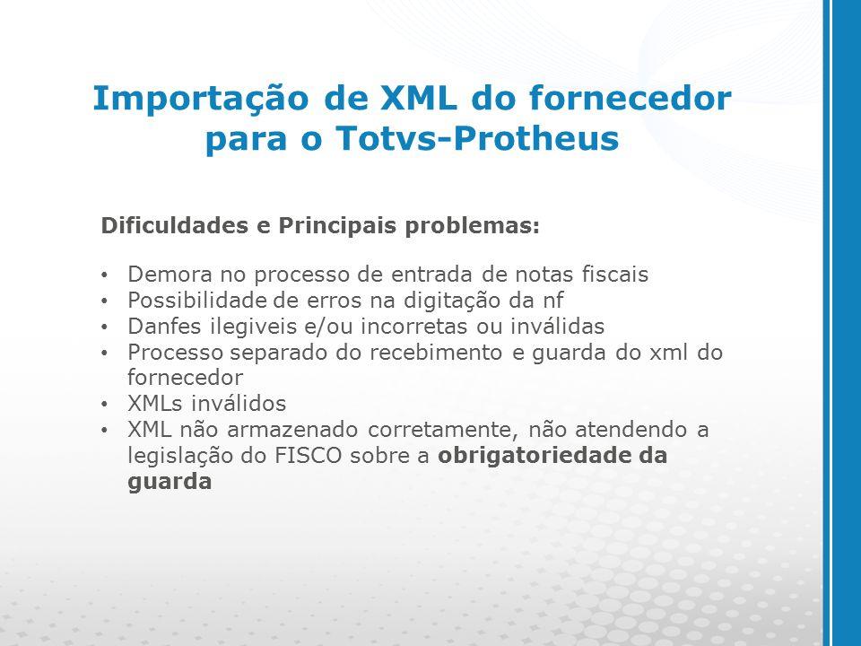 www.cyberpolos.com.br Importação de XML do fornecedor para o Totvs-Protheus Dificuldades e Principais problemas: Demora no processo de entrada de notas fiscais Possibilidade de erros na digitação da nf Danfes ilegiveis e/ou incorretas ou inválidas Processo separado do recebimento e guarda do xml do fornecedor XMLs inválidos XML não armazenado corretamente, não atendendo a legislação do FISCO sobre a obrigatoriedade da guarda