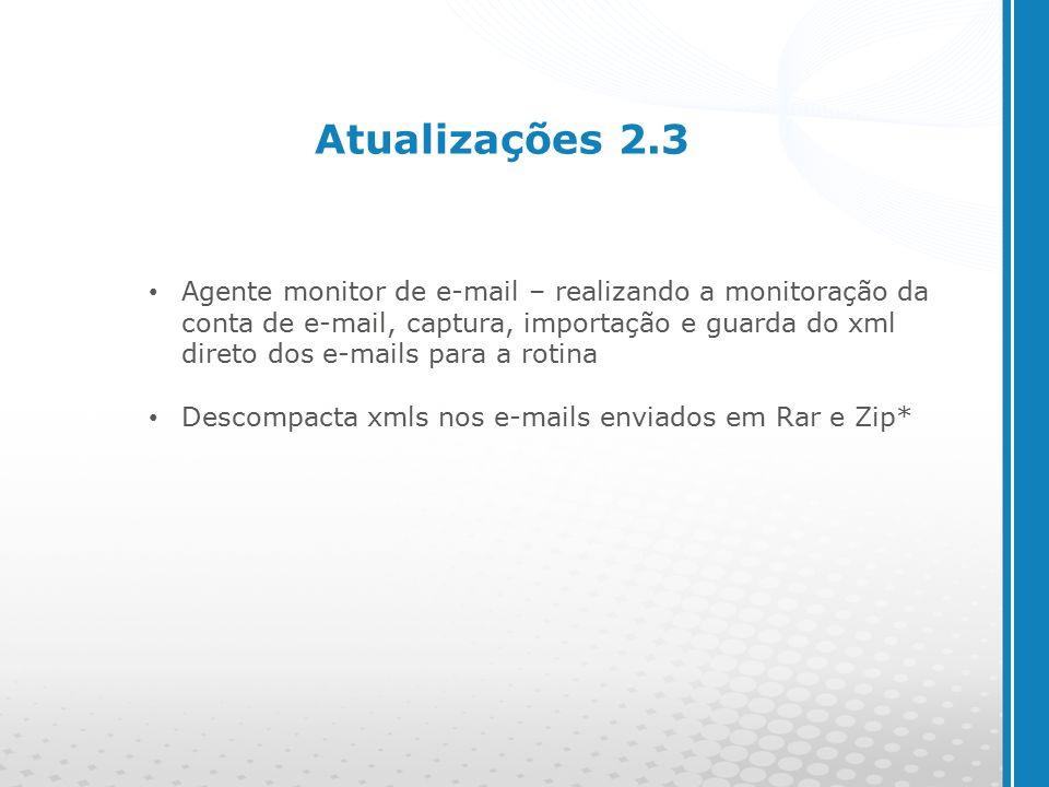 www.cyberpolos.com.br Atualizações 2.3 Agente monitor de e-mail – realizando a monitoração da conta de e-mail, captura, importação e guarda do xml direto dos e-mails para a rotina Descompacta xmls nos e-mails enviados em Rar e Zip*