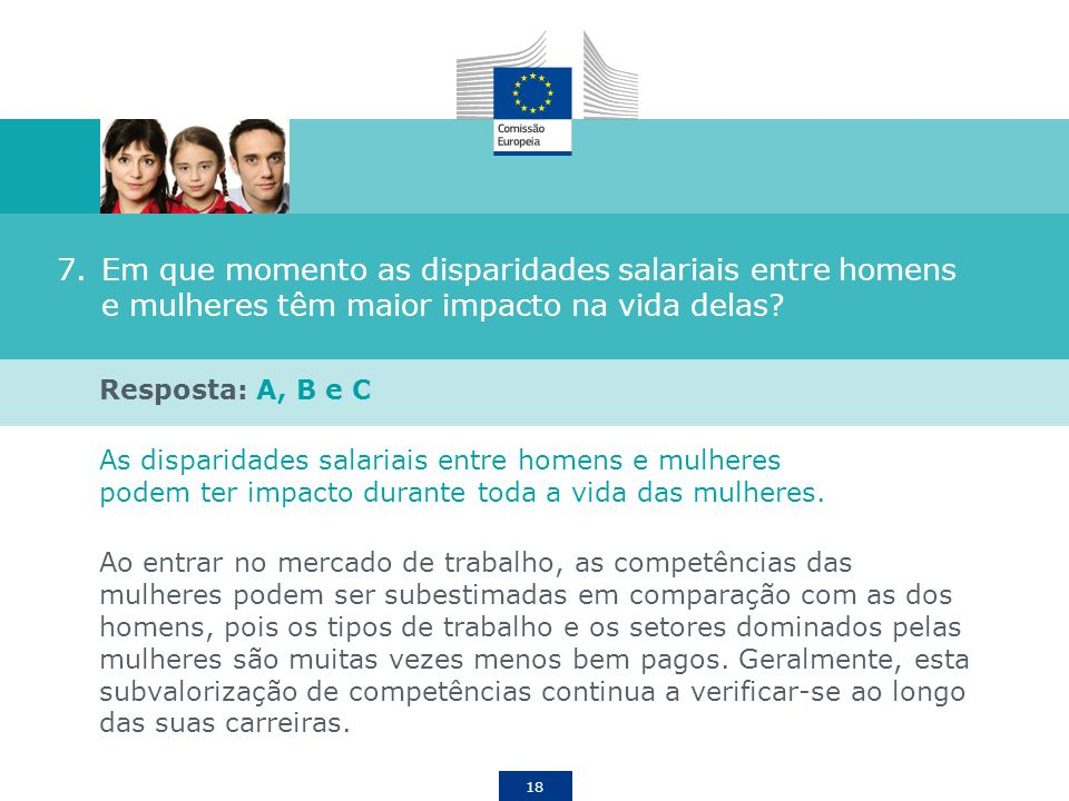 18 7.Em que momento as disparidades salariais entre homens e mulheres têm maior impacto na vida delas? Resposta: A, B e C As disparidades salariais en