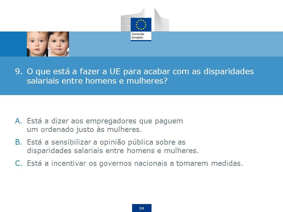 24 9.O que está a fazer a UE para acabar com as disparidades salariais entre homens e mulheres.
