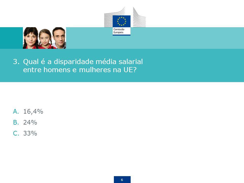 6 3.Qual é a disparidade média salarial entre homens e mulheres na UE? A.16,4% B.24% C.33%