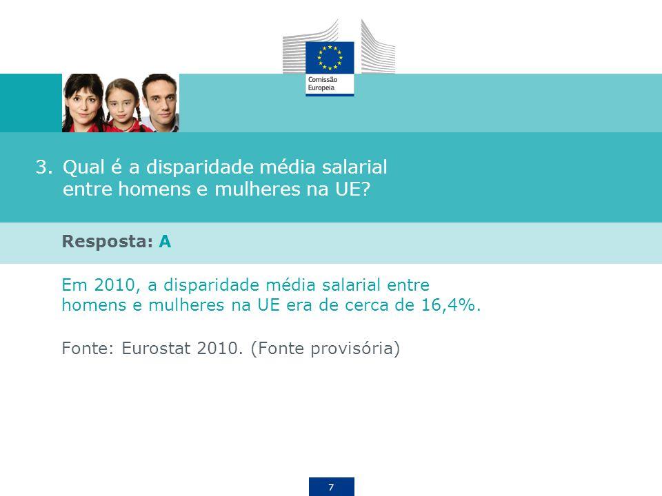 7 3.Qual é a disparidade média salarial entre homens e mulheres na UE? Resposta: A Em 2010, a disparidade média salarial entre homens e mulheres na UE