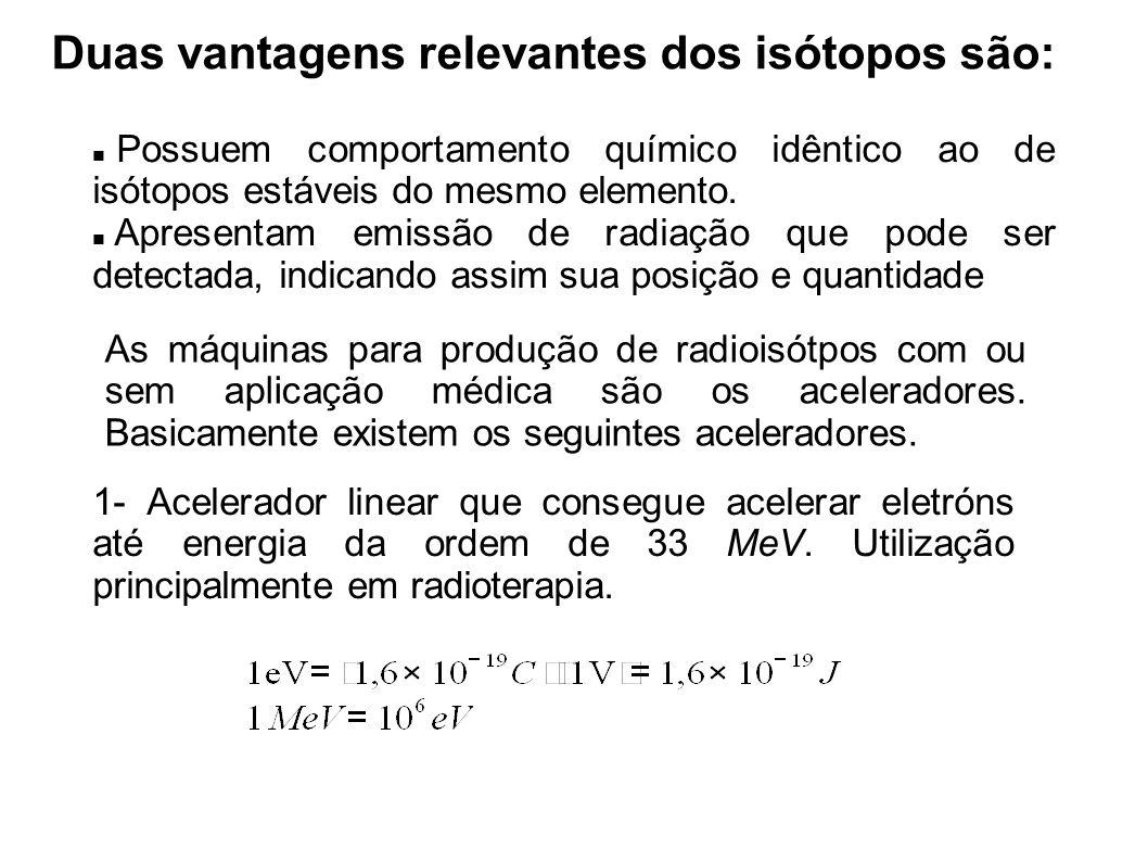 Duas vantagens relevantes dos isótopos são: Possuem comportamento químico idêntico ao de isótopos estáveis do mesmo elemento.