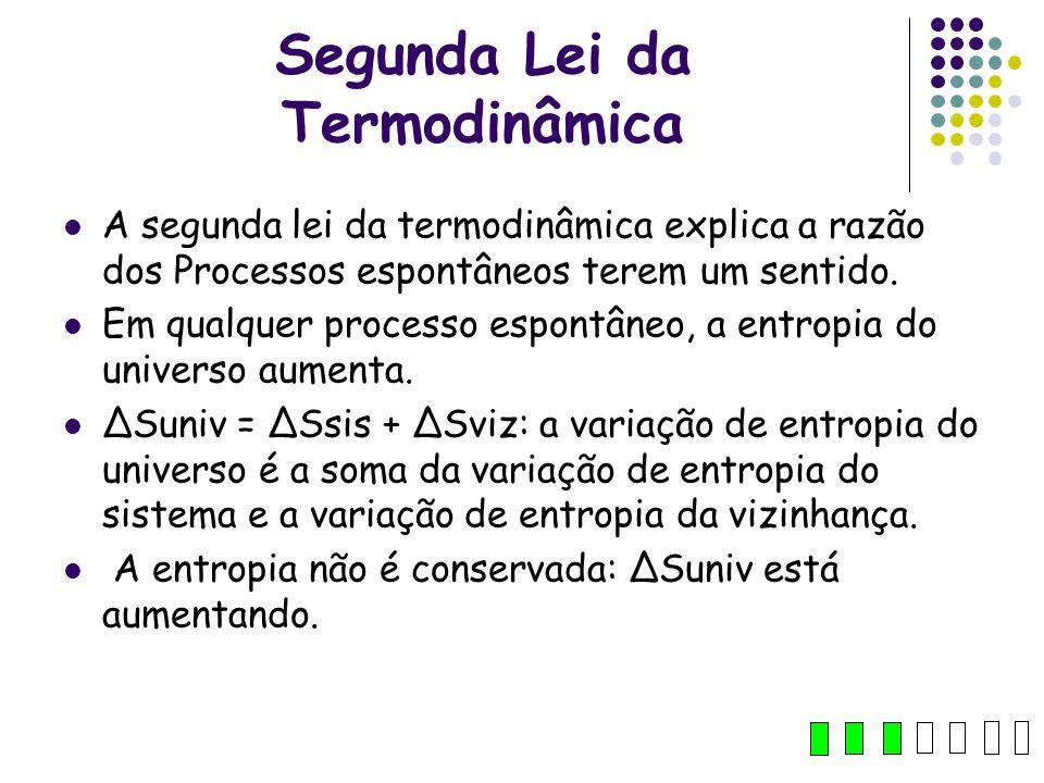 Segunda Lei da Termodinâmica A segunda lei da termodinâmica explica a razão dos Processos espontâneos terem um sentido. Em qualquer processo espontâne