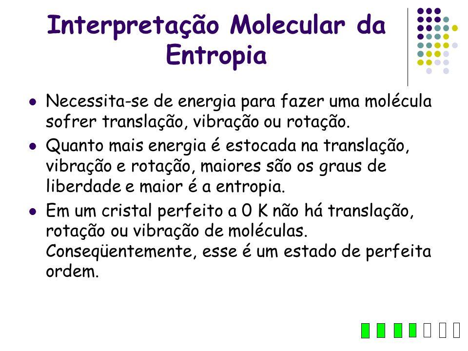 Interpretação Molecular da Entropia Necessita-se de energia para fazer uma molécula sofrer translação, vibração ou rotação. Quanto mais energia é esto