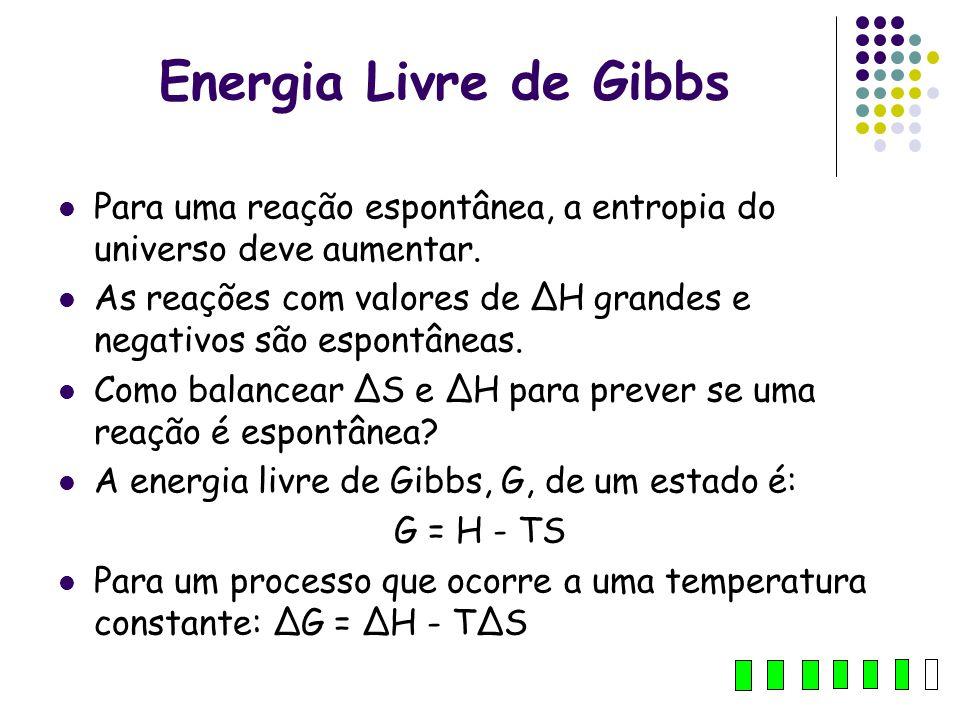 Energia Livre de Gibbs Para uma reação espontânea, a entropia do universo deve aumentar. As reações com valores de ΔH grandes e negativos são espontân