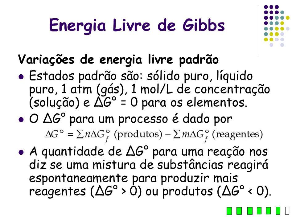 Energia Livre de Gibbs Variações de energia livre padrão Estados padrão são: sólido puro, líquido puro, 1 atm (gás), 1 mol/L de concentração (solução)