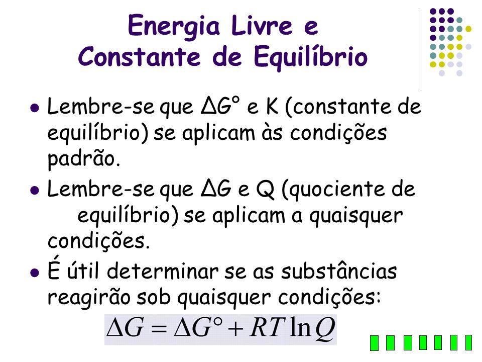 Energia Livre e Constante de Equilíbrio Lembre-se que ΔG° e K (constante de equilíbrio) se aplicam às condições padrão. Lembre-se que ΔG e Q (quocient