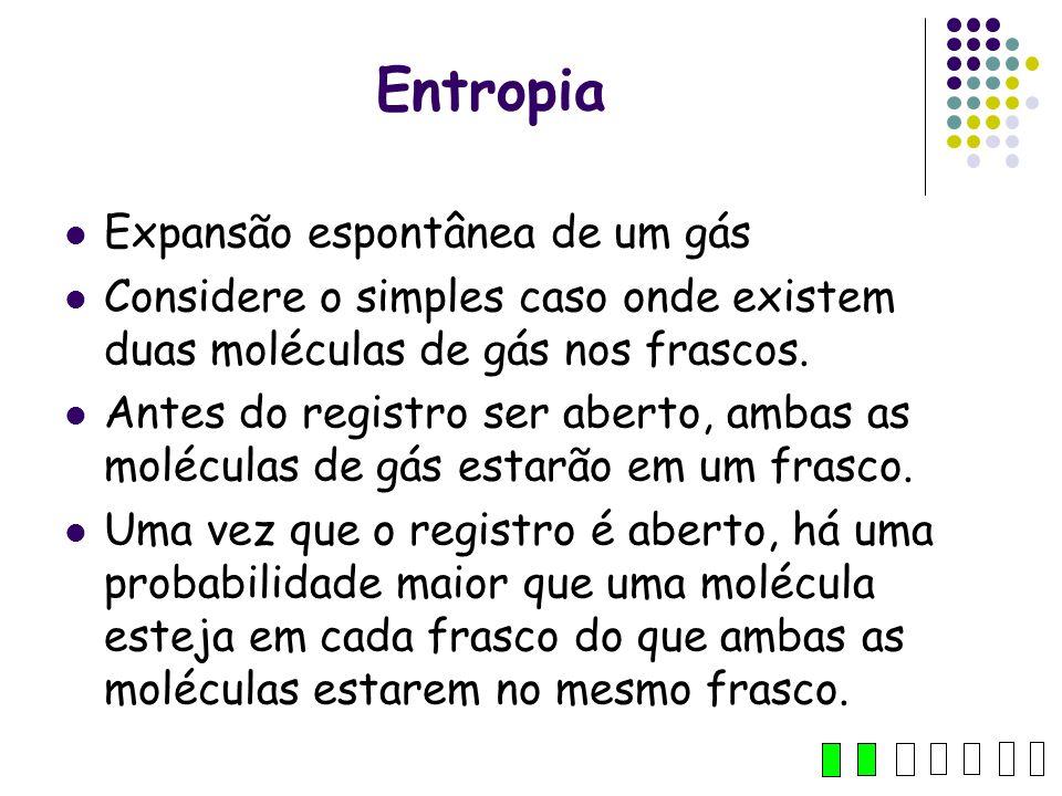 Entropia Expansão espontânea de um gás Considere o simples caso onde existem duas moléculas de gás nos frascos. Antes do registro ser aberto, ambas as