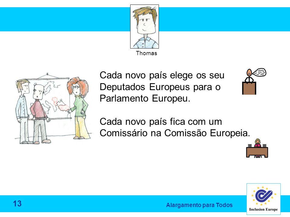 Alargamento para Todos Thomas Cada novo país elege os seu Deputados Europeus para o Parlamento Europeu.